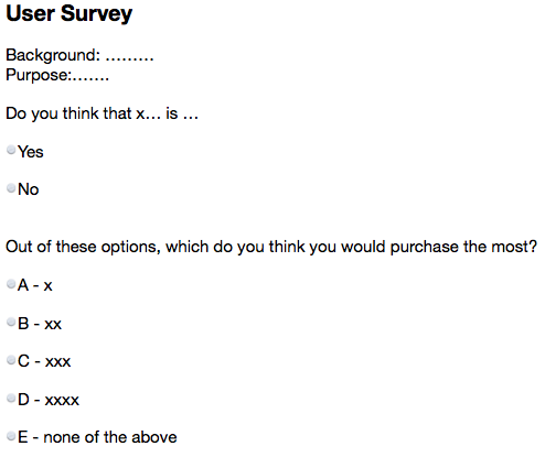 Example user survey