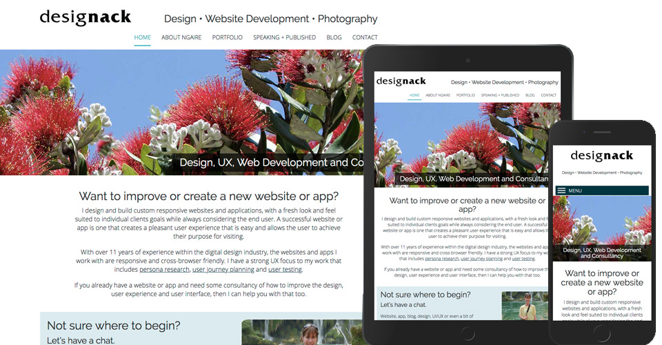 Responsive design example of desktop, tablet and mobile