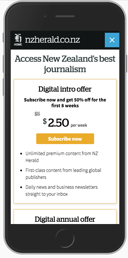 Mobile view of the offers page