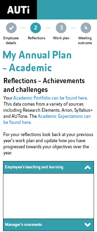 Responsive mobile example of Academic Annual Plan